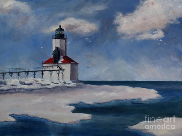 Lighthouse Art Print featuring the painting Michigan City Light by Brenda Thour