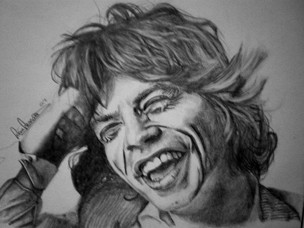 Celeb Portraits Art Print featuring the drawing Mick Jagger Portrait by Sean Leonard