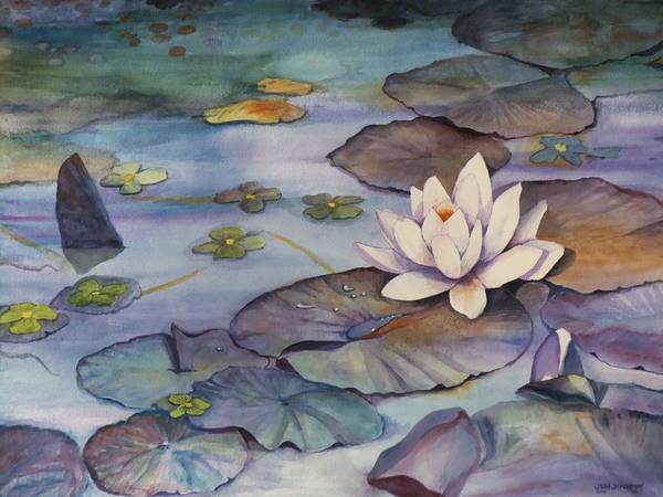 Lily Art Print featuring the painting Midnight Lily by Jun Jamosmos