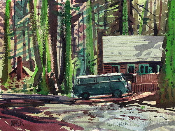 Mill Creek Art Print featuring the painting Mill Creek Camp by Donald Maier