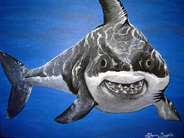 Shark Art Print featuring the painting Mischief by Sharon Supplee