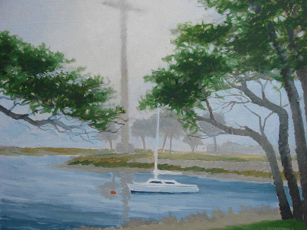 Fog Art Print featuring the painting Mission In Fog by Robert Rohrich