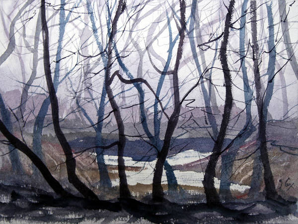 Landscape. Mist. Trees. Atmosphere. Art Print featuring the painting Misty Morning by John Cox
