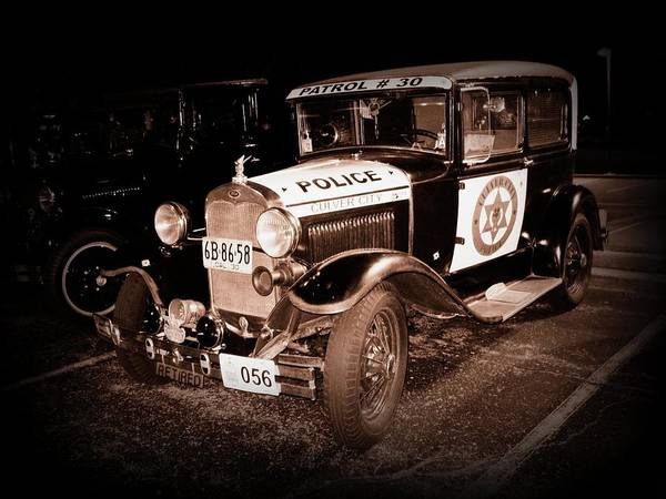 Car Print featuring the photograph Model A Culver City Police Bw by David Dunham