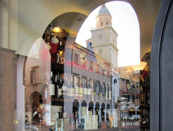 Modena Italy Artwork Is The Cathedral Duomo And Interest Unesco A To Be Some Aceto Balsamico Tradizionale Regional Product Shown In Shop Window On Side Of Po Valley Province Emilia Romagna Region Photo By Michel Guntern Travelnotes Travel Er Pics Travelpics Balsamic Vinegar Reflection Lambrusco Wine An Italian Speciality Glass Bottle With Label Tower Arch Arcade City Street Tourism Tourist Retail Landmark Exterior Town Europe Old Attraction Touristic Palace Ancient View Vintage Medieval Shopping Art Print featuring the photograph Modena, Italy by Travel Pics