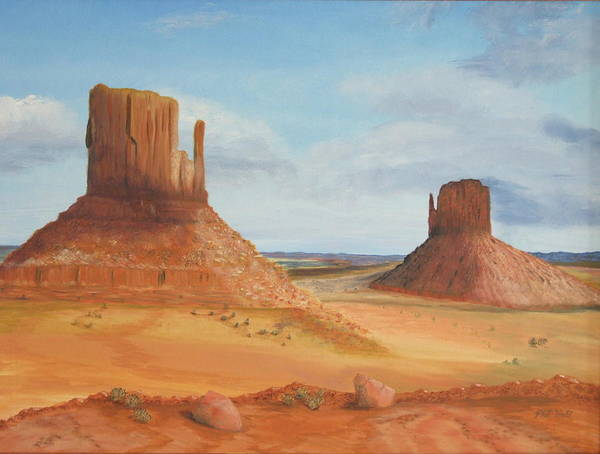 Monument Valley Art Print featuring the painting Monument Valley  The Mittens by Philip Hall