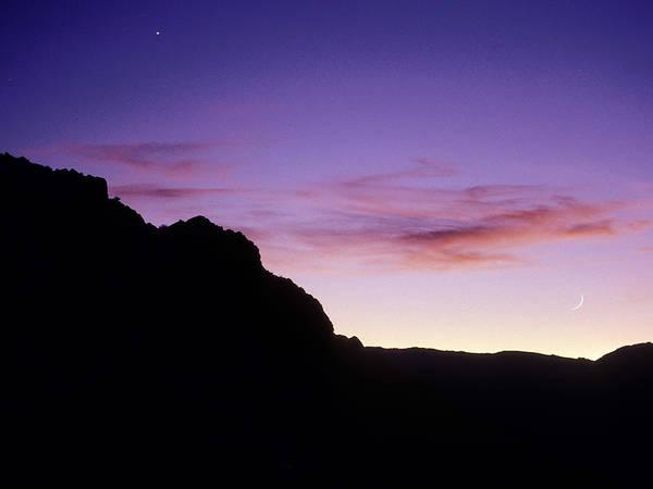 Moon Art Print featuring the photograph Moon And Venus Over The Sierra Nevada by Brian Lockett