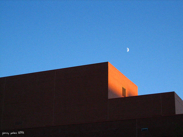 Buildiing Art Print featuring the photograph Moon With Brick by Gerard Yates