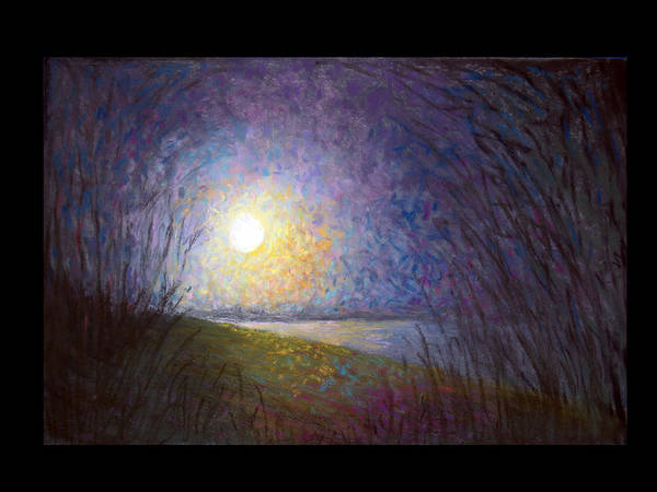 Landscape Art Print featuring the painting Moonlight Lake by Susan Jenkins