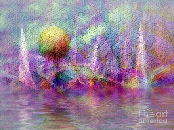 Moonrise Art Print featuring the digital art Moonrise On Orchid Bay by Carolyn Staut