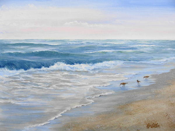 Lake Erie Art Print featuring the painting Morning Breakers by Judy Fischer Walton