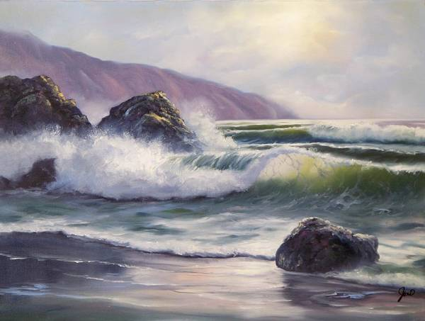 Ocean Art Print featuring the painting Morning Calm by Joni McPherson