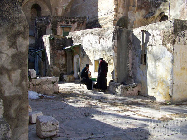 Jerusalem Art Print featuring the photograph Morning Conversation by Kathy McClure