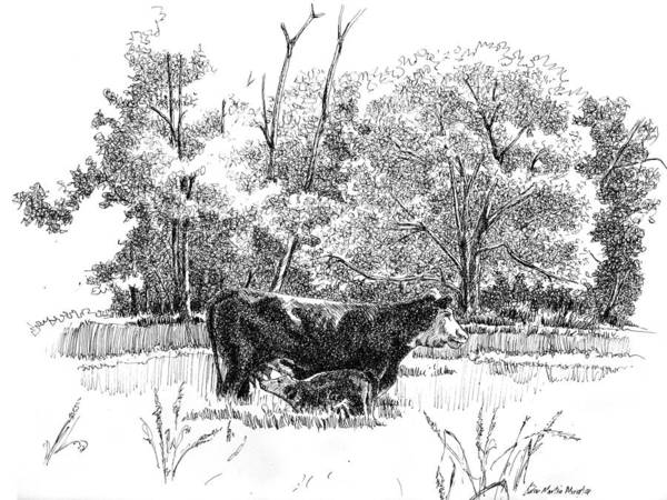 Landscape Art Print featuring the drawing Mother And Son by Peter Muzyka