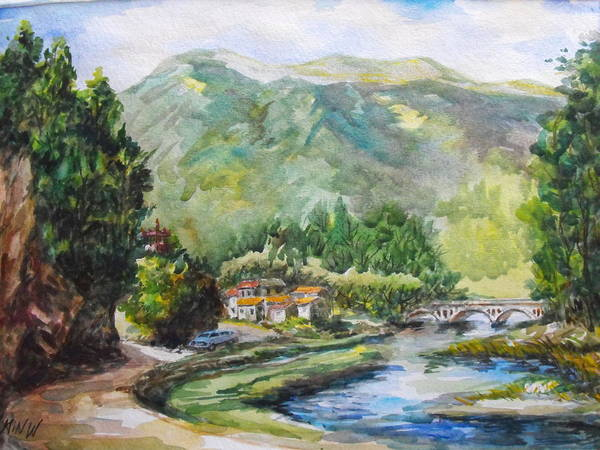 Water Color Painting Art Print featuring the painting Mountain Retreat by Min Wang