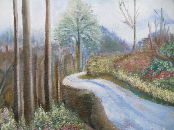 Landscape Art Print featuring the painting Mountain Road by Lugenia Dixon