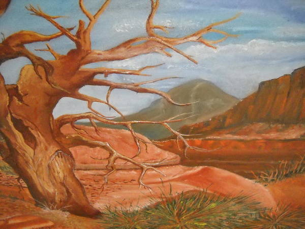 Landscape Art Print featuring the painting Mountain Side by Willie McNeal