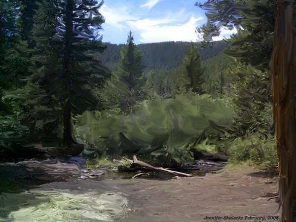 Mountain Stream Art Print featuring the digital art Mountain Stream by Jennifer Skalecke