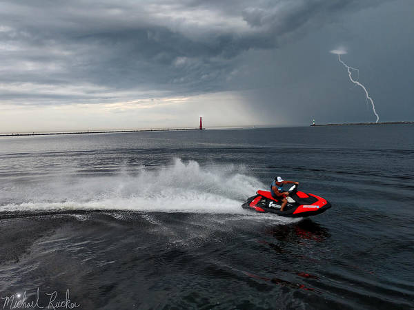 Jet Ski Art Print featuring the photograph Muskegon South Pier Lighthouse by Michael Rucker