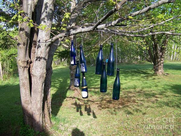 Blue Bottles Art Print featuring the photograph My Bottle Tree - Photograph by Jackie Mueller-Jones