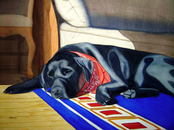 Labrador Retriever Art Print featuring the painting Nap In The Sun by Teresa Boston