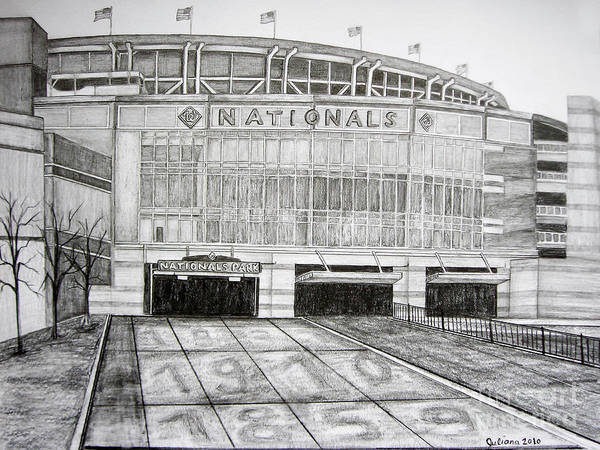 Nationals Park Print featuring the drawing Nationals Park by Juliana Dube