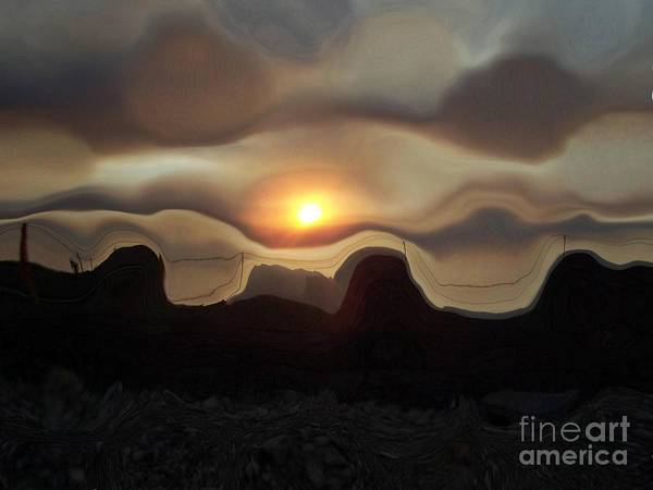 Las Vegas Art Print featuring the photograph Nevada Sunset Manipulated by Patricia Williams