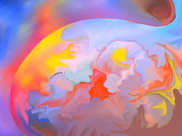 Abstract Art Print featuring the digital art New World by Peter Shor