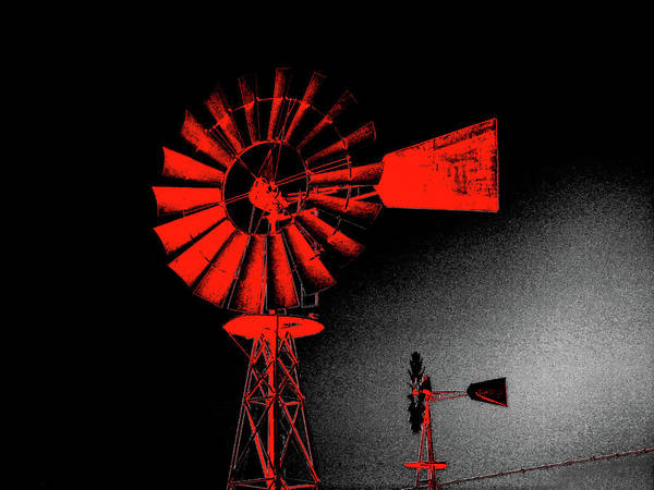 Windmill Art Print featuring the digital art Nightwatch by Wendy J St Christopher