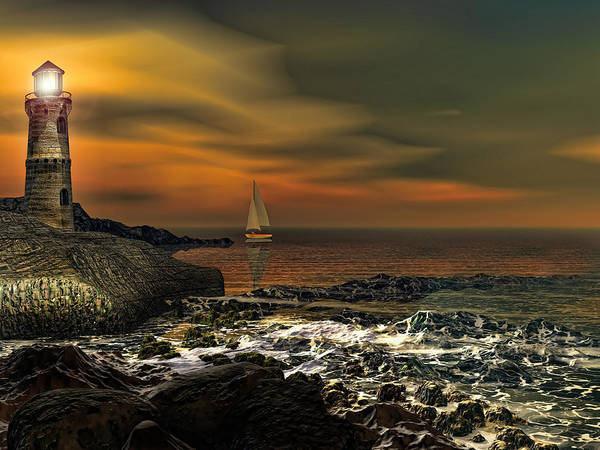 Lighthouse Art Print featuring the photograph Nocturnal Tranquility by Lourry Legarde