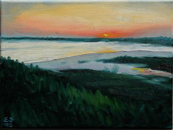 Oceanscape Art Print featuring the painting Ocean Sunset No.1 by Erik Schutzman