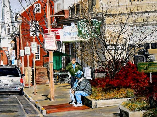 City Scene Art Print featuring the painting Oil Stains And Red Nandina by Thomas Akers