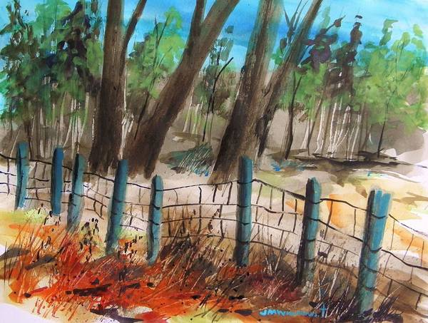 Fence Art Print featuring the painting Old Boundary by John Williams