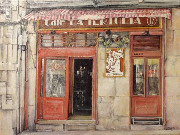 Cafe Art Print featuring the painting Old Cafe- Santander Spain by Tomas Castano