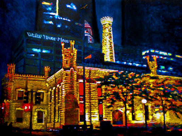 Chicago Art Print featuring the painting Old Chicago Pumping Station by Michael Durst