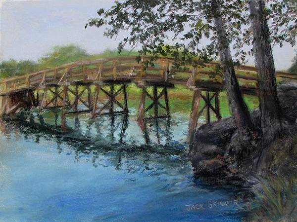 Pastel Art Print featuring the painting Old North Bridge In Pastel by Jack Skinner
