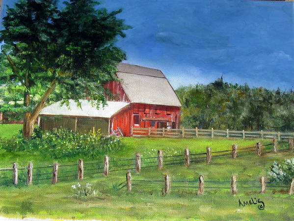 Barn Art Print featuring the painting Old Red Barn by Amelie Gates