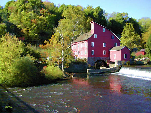 Clinton Art Print featuring the digital art Old Red Mill by Doug Vance
