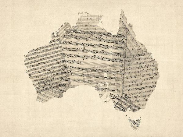 Australia Map Print featuring the digital art Old Sheet Music Map Of Australia Map by Michael Tompsett