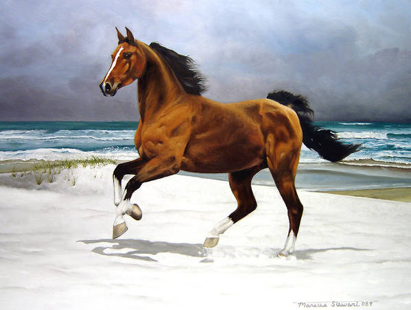 Horse Art Print featuring the painting On The Beach by Marc Stewart