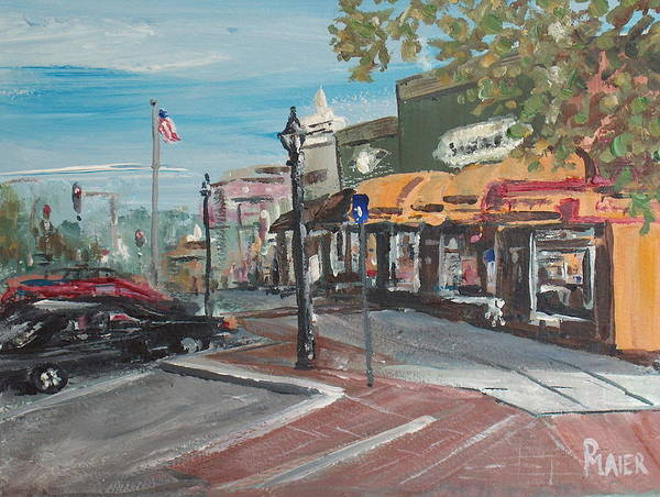 Downtown Art Print featuring the painting On The Square by Pete Maier