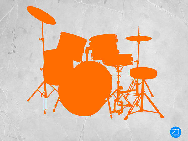 Drums Print featuring the photograph Orange Drum Set by Naxart Studio