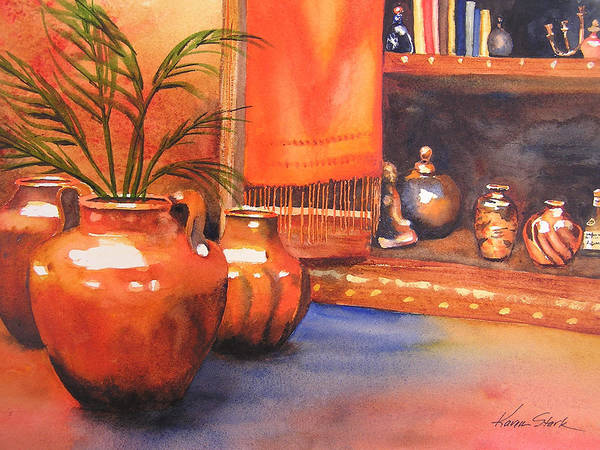 Pottery Art Print featuring the painting Orange Scarf by Karen Stark