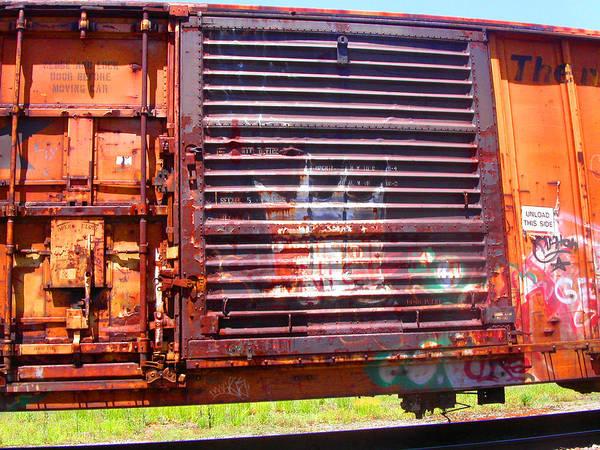 Train Art Print featuring the photograph Orange Train Car by Anne Cameron Cutri