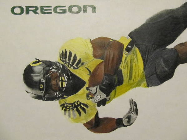 Oregon Print featuring the drawing Oregon Ducks Lamichael James by Ryne St Clair