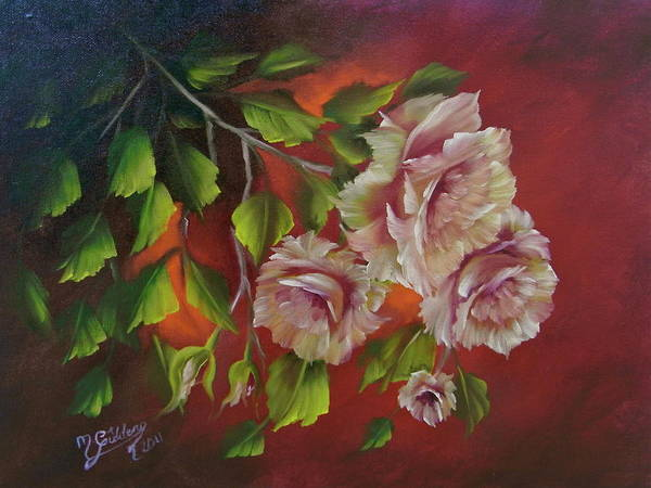 Roses Art Print featuring the painting Overhanging Roses by Micheal Giddens