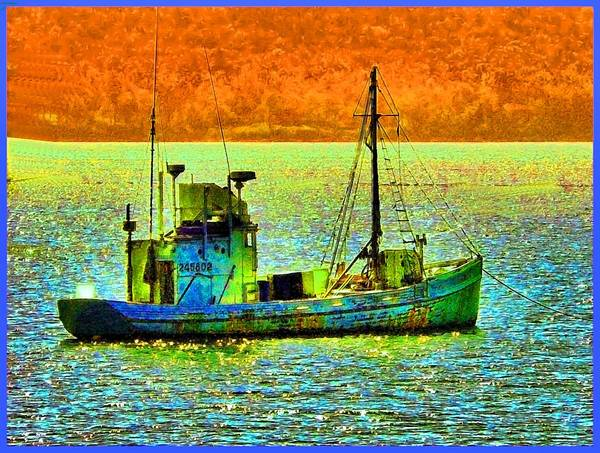 Fishing Boat Art Print featuring the photograph p1030865001d Fishing Boat by Ed Immar