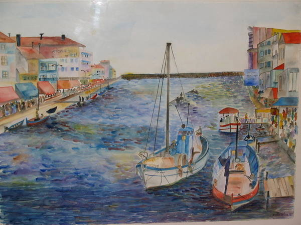 Fishing Boats Art Print featuring the painting Palavas by Aline Kala