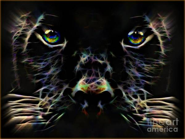 Shadow The Panther By Wbk Art Print featuring the painting Panther Shadow by Wbk