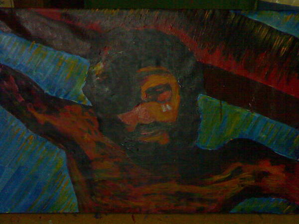 Expressionism Painting Art Print featuring the painting passion of Christ by Ruangseni Art